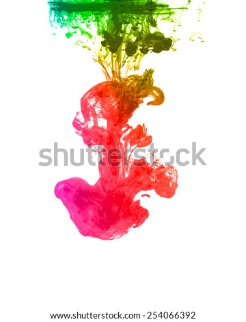 Colorful ink in water isolated on white - stock photo