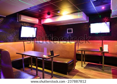 colorful interior of bright and beautiful night club
