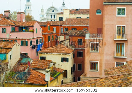 Colorful Italian Building Rooftops in Venice