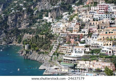 Colorful italian town - stock photo