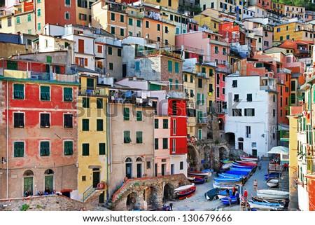 colorful Italy series Cinque terre. Riomaggiore - stock photo