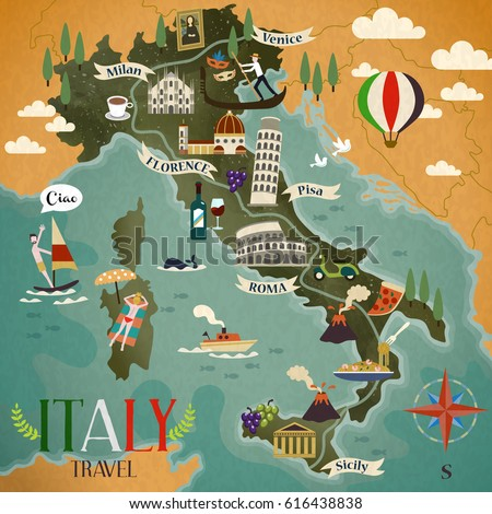 Colorful Italy Travel Map Attraction Symbols Stock Illustration - Italian map