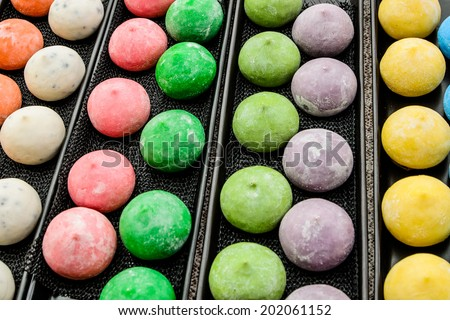 colorful japanese dessert called mochi
