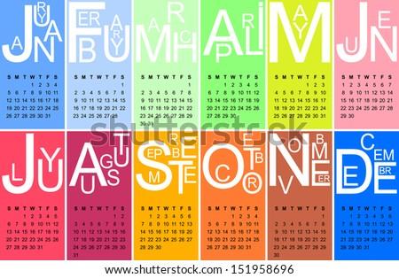Colorful jazzy 2014 calendar - stock photo