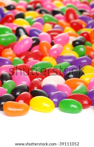 colorful jelly beans isolated - stock photo