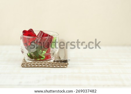 colorful jelly in glass on white background - stock photo