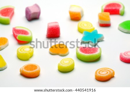 Colorful jelly sweets isolated on white background