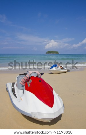 Colorful Jet ski on the beach of holiday season