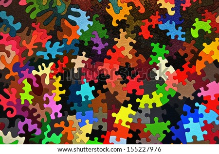 colorful jigsaw puzzle piece background - stock photo
