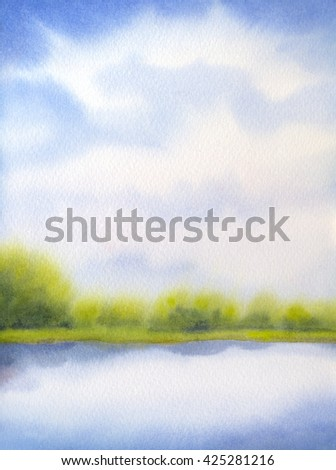 Colorful joyful handmade watercolour on paper backdrop with space for text on azure heaven. Light cyan cumulus over bright green sunlit meadow with lush forest bushes on horizon near clear quiet creek - stock photo
