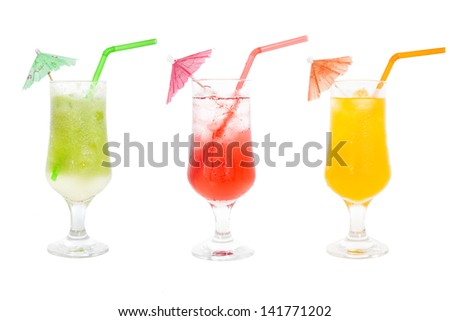 Colorful juice cocktails collection for summer drinks