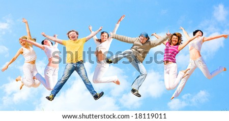 colorful jumping young people - stock photo