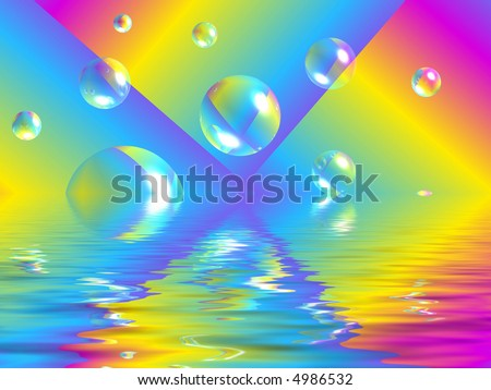 colorful kaleidoscope with bubbles and water