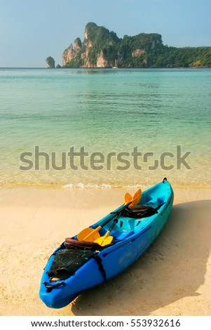 Colorful kayak at Ao Loh Dalum beach on Phi Phi Don Island, Krabi Province, Thailand. Koh Phi Phi Don is part of a marine national park.