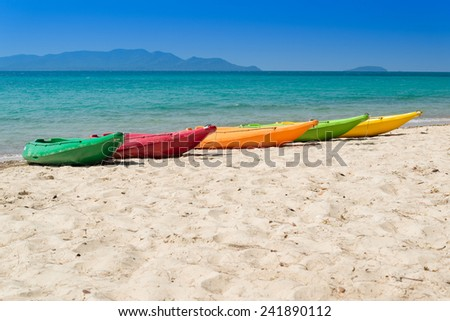 Colorful kayak on the tropical beach in Thailand - stock photo
