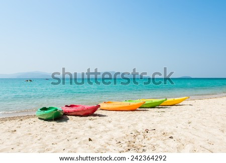 Colorful kayak on tropical beach of Thailand - stock photo