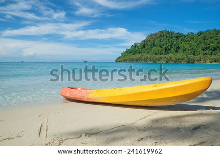 Colorful kayaks on the tropical beach.Summer travel in Phuket ,Thailand. - stock photo