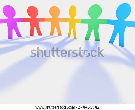 Colorful kids, cartoon people 3d illustration, unity and diversity abstract idea.