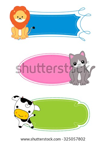Colorful kids name tags / labels / frame with cute animals on corners