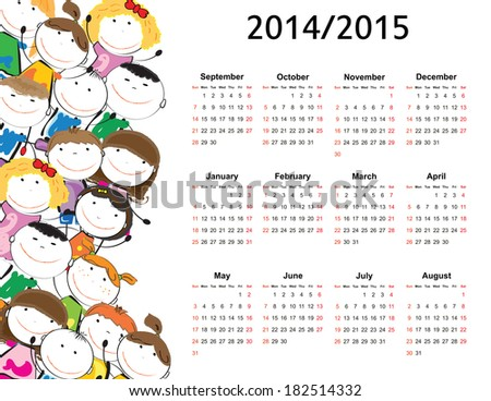 Colorful kids school calendar from 2014 to 2015
