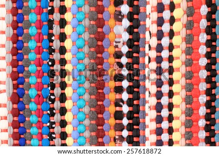 Colorful knitted cloth reuse Closeup of crochet rag rug.  - stock photo