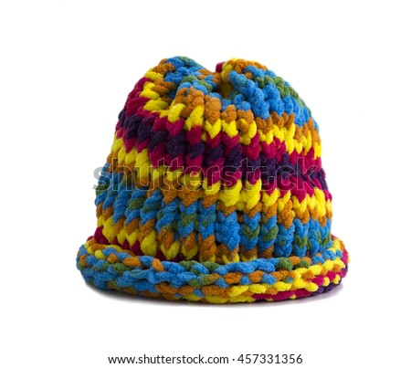 colorful knitted wool hat isolated on white background - stock photo