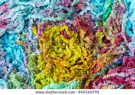Colorful knitting yarn background / pattern
