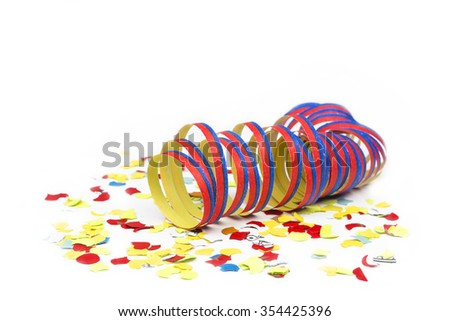Colorful Konfetti with paper streamers - stock photo