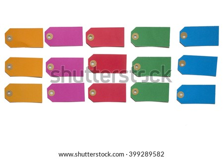 Colorful labels in orange, pink, red, green and blue on a white background - stock photo