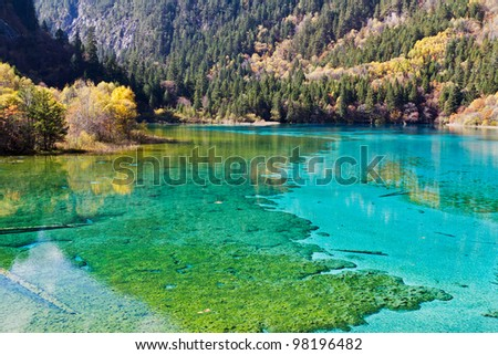 Colorful lake in autumn - stock photo