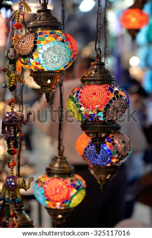 Colorful lamps hanging at the Grand Bazaar in Istanbul. - stock photo