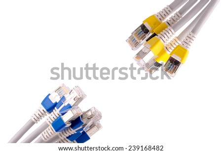 Colorful lan telecommunication cable RJ45 isolated on white background - stock photo