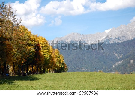 Colorful landscape in autumn at zell am see, austria.