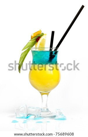 Colorful layered alcohol drink - stock photo