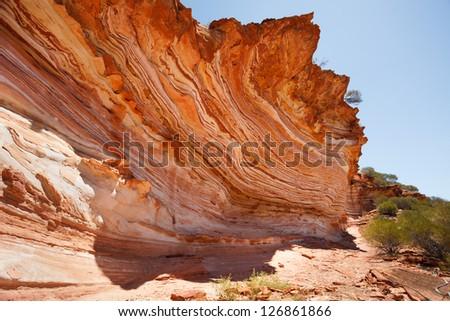 Colorful layered rock at loop walk, Kalb ari national park, Western Australia - stock photo
