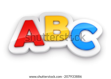 Colorful letters ABC on white background  - stock photo