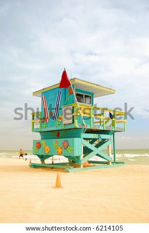 Colorful lifeguard station - stock photo