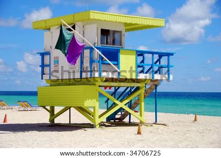 Colorful lifeguard station on Miami Beach, Florida - stock photo
