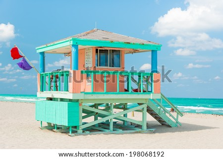 Colorful lifeguard tower in Miami Beach on a beautiful summer day - stock photo