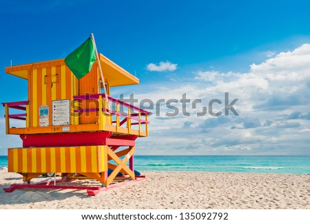 Colorful Lifeguard Tower in South Beach, Miami Beach, Florida
