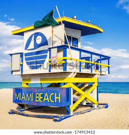 Colorful Lifeguard Tower in South Beach, Miami Beach, Florida, USA  - stock photo