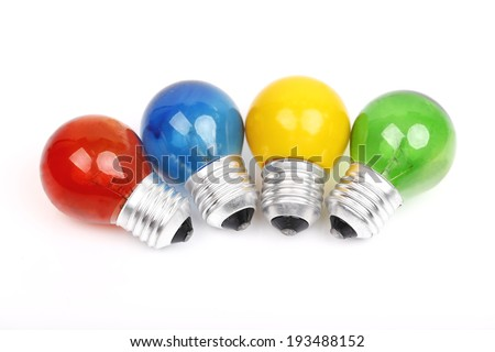 colorful light bulb on white background.