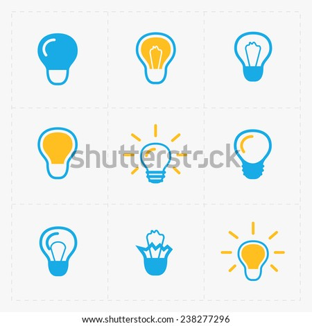 Colorful Light bulbs. Bulb icon set.