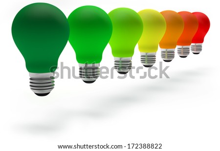 colorful light bulbs in row on white background - stock photo