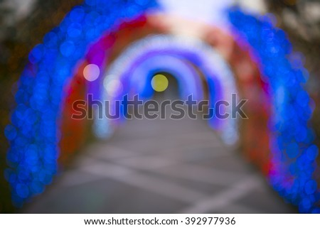 colorful light of bokeh tunnel background - stock photo
