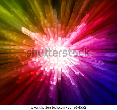 Colorful light with blocks extrude explosion effects background - stock photo