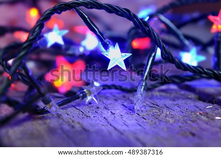 colorful lights star shaped of a electric garland