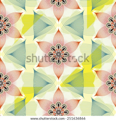 colorful linear floral seamless pattern background over white - stock photo