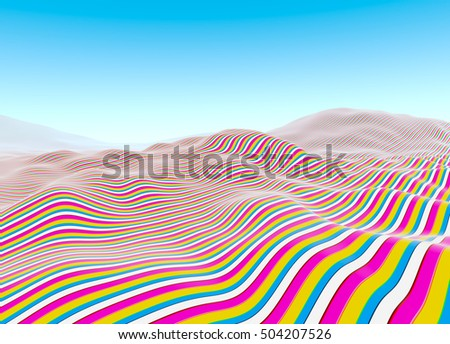 Colorful lines pattern, waves of stripes fading to blue sky illustration