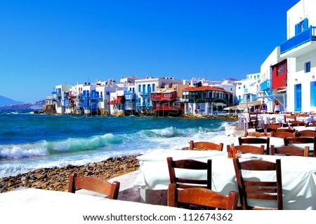 Colorful Little Venice neighborhood of Mykonos island, Greece - stock photo